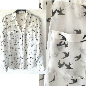 EXPRESS White Portofino bird print button up shirt